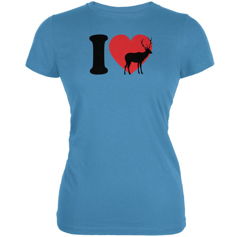 I Heart Love Deer Aqua Juniors Soft T-Shirt