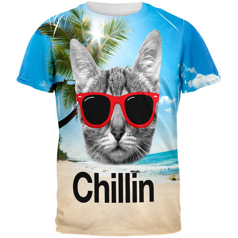 Chillin Cat All Over Adult T-Shirt