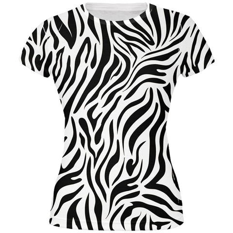 Zebra Print White All Over Juniors T-Shirt