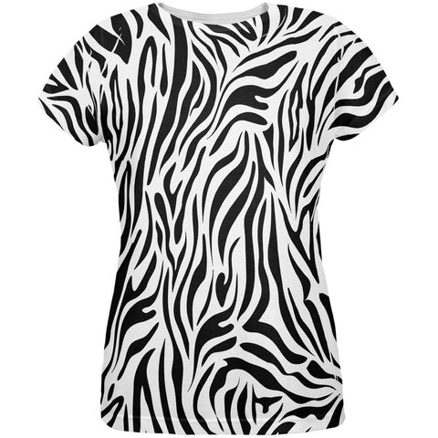 Zebra Print White All Over Womens T-Shirt