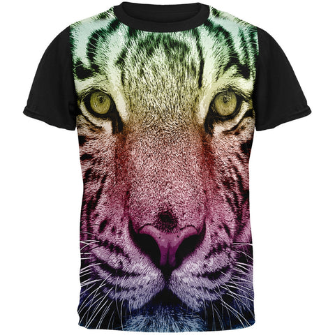 Rainbow Tiger Adult Black Back T-Shirt