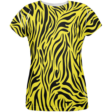 Zebra Print Yellow All Over Womens T-Shirt