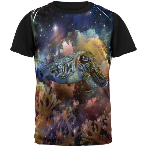 Cuttlefish IN SPACE Adult Black Back T-Shirt