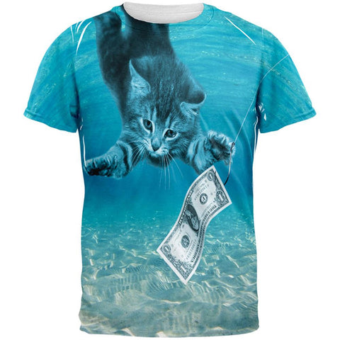Kitty Nevermind Cat Parody All Over Adult T-Shirt