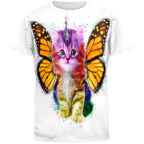 Rainbow Butterfly Unicorn Kitten All Over Adult T-Shirt