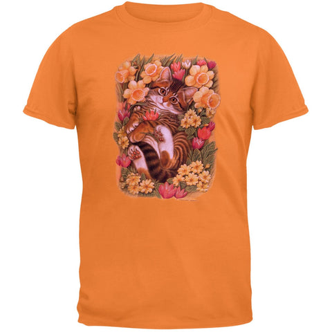 Kitten In Bed Of Flowers Adult T-Shirt