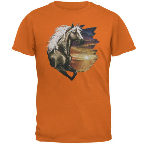 Horse Running Through Sunset Adult T-Shirt