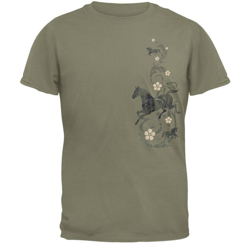 Horses & Floral Scroll Adult T-Shirt