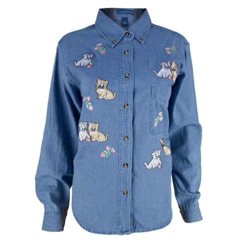 Kittens And Flowers Patch Denim Women's Collared Shirt
