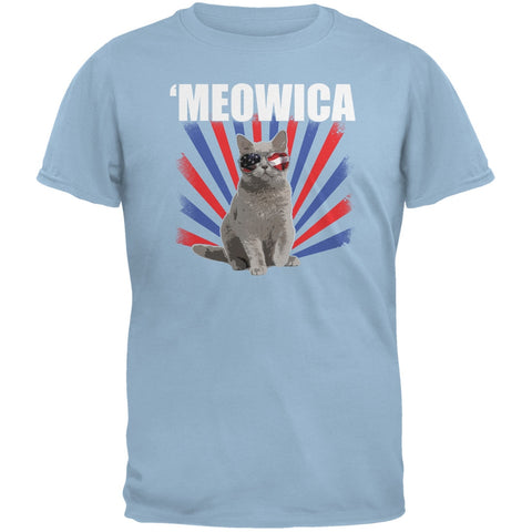 4th of July Meowica Light Blue Youth T-Shirt