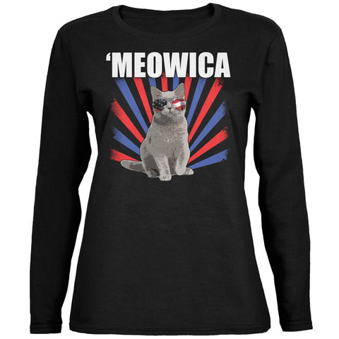 4th of July Meowica Black Womens Long Sleeve T-Shirt