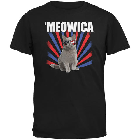 4th of July Meowica Black Youth T-Shirt