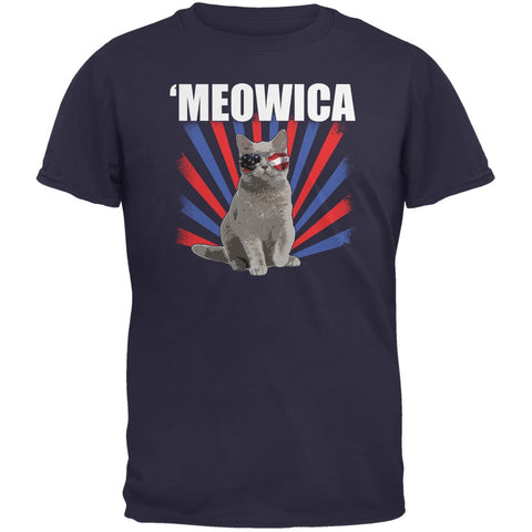 4th of July Meowica Navy Youth T-Shirt