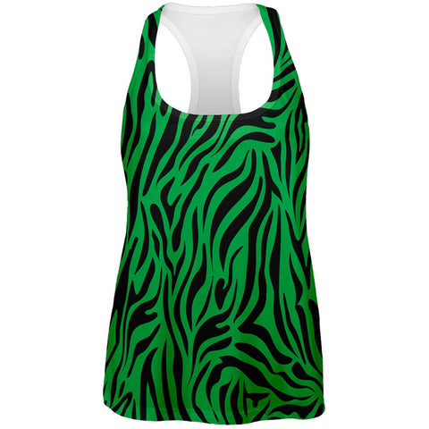 Zebra Print Green All Over Womens Tank Top