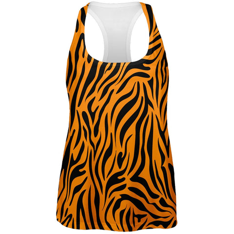 Zebra Print Orange All Over Womens Tank Top