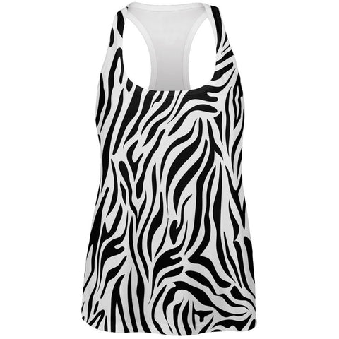 Zebra Print White All Over Womens Tank Top