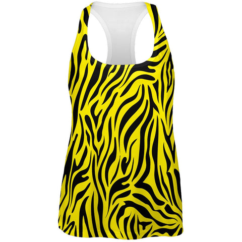 Zebra Print Yellow All Over Womens Tank Top
