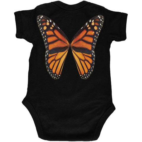 Monarch Butterfly Wings Costume Black Soft Baby One Piece