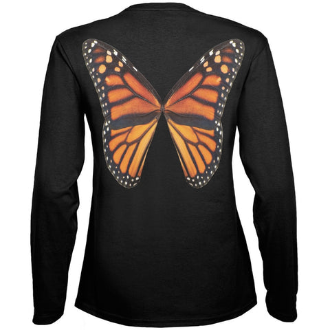 Monarch Butterfly Wings Costume Black Womens Long Sleeve T-Shirt