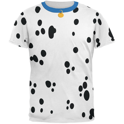 Dog Dalmatian Costume Blue Collar All Over Adult T-Shirt