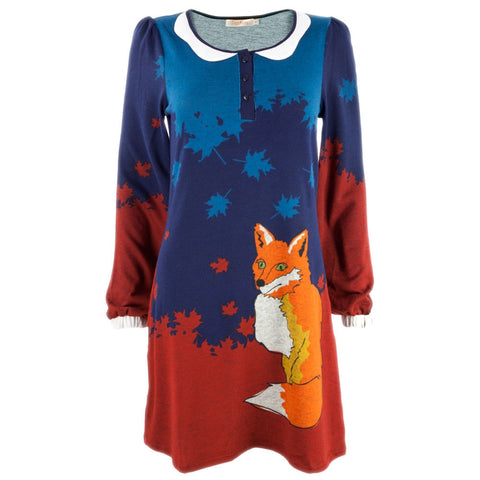Fox in Leaves Women's Sweater Dress