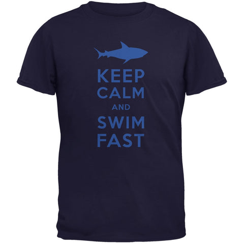 Shark Keep Calm and Swim Fast Navy Adult T-Shirt