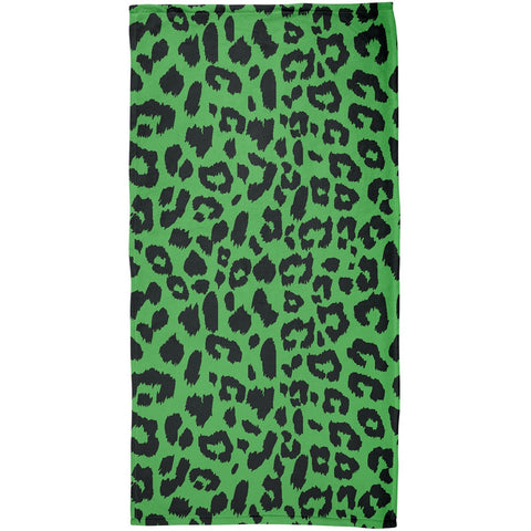 Green Cheetah Print All Over Plush Beach Towel