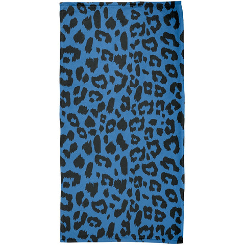 Blue Cheetah Print All Over Plush Beach Towel