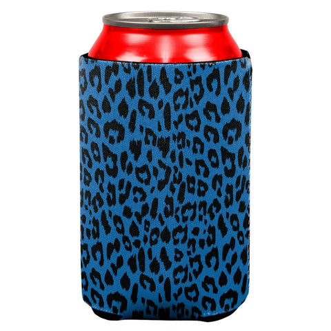 Blue Cheetah Print All Over Can Cooler