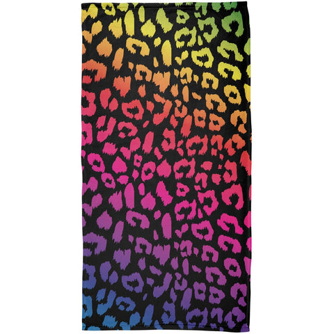 Rainbow Cheetah Print All Over Plush Beach Towel