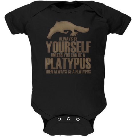 Always be Yourself Platypus Black Soft Baby One Piece