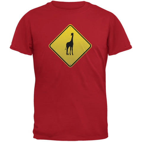 Giraffe Crossing Sign Red Adult T-Shirt