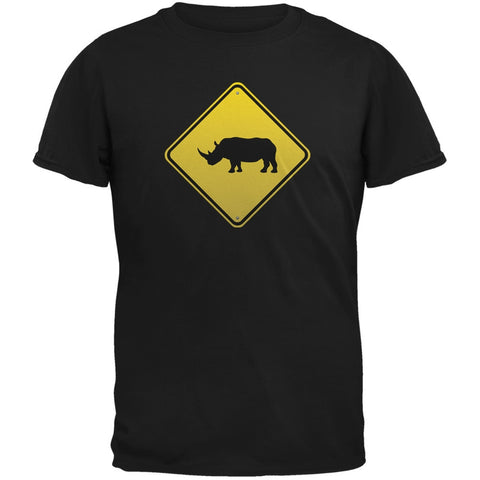 Rhino Crossing Sign Black Adult T-Shirt
