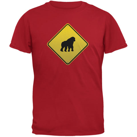 Gorilla Crossing Sign Red Adult T-Shirt