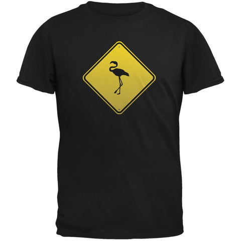 Flamingo Crossing Sign Black Adult T-Shirt
