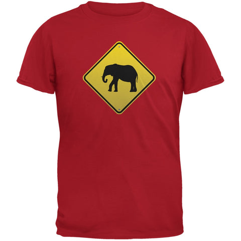 Elephant Crossing Sign Red Adult T-Shirt