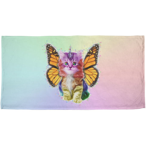 Rainbow Butterfly Unicorn Kitten All Over Plush Beach Towel