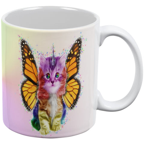 Rainbow Butterfly Unicorn Kittens White All Over Coffee Mug