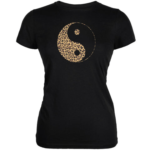 Cheetah Print Ying Yang Black Juniors Soft T-Shirt