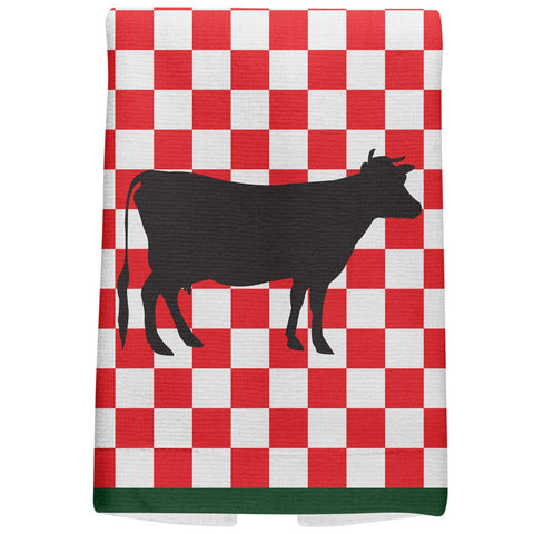 Country Kitchen Checkerboard Cow All Over Hand Towel