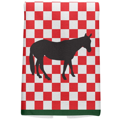 Country Kitchen Checkerboard Horse All Over Hand Towel