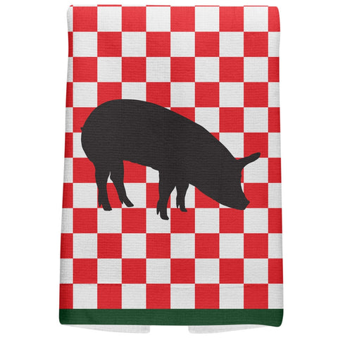 Country Kitchen Checkerboard Pig All Over Hand Towel
