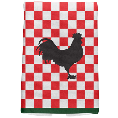 Country Kitchen Checkerboard Rooster All Over Hand Towel