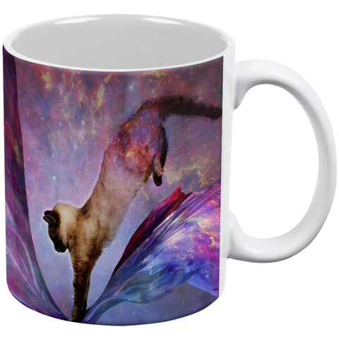 Galaxy Cat Time and Space White All Over Coffee Mug