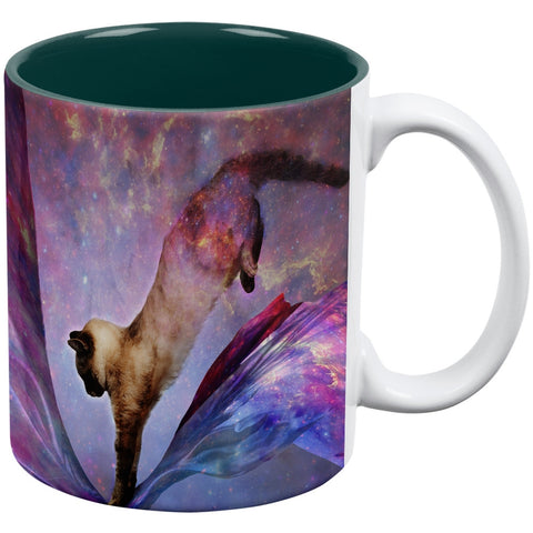 Galaxy Cat Time and Space White-Green All Over Coffee Mug