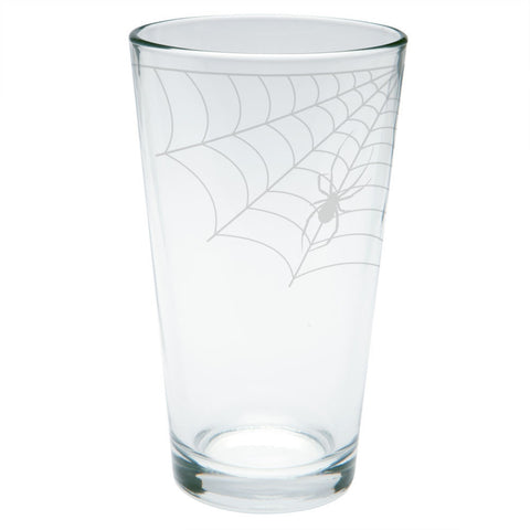 Halloween Corner Spider Web Etched Pint Glass