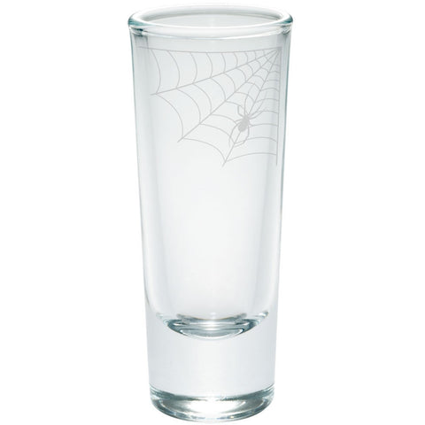 Halloween Corner Spider Web Etched Shot Glass Shooter