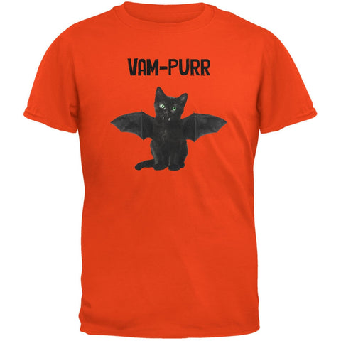 Halloween Cat Vampire Vam-purr Orange Adult T-Shirt