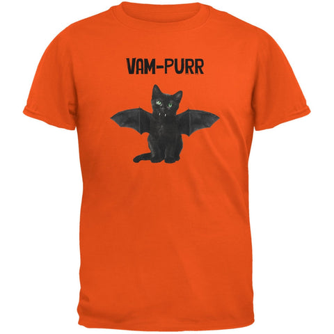 Halloween Cat Vampire Vam-purr Orange Youth T-Shirt