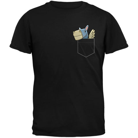 Pocket Pet Pegasus Black Adult T-Shirt